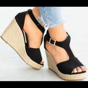 Shoes - Black Espadrille Wedges